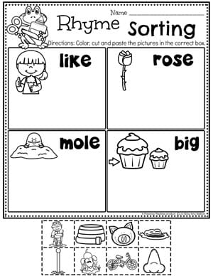 Rhyming Words Sort #planningplaytime #rhymingwords #kindergartenworksheets #rhymingworksheets #literacyworksheets