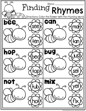 Rhyming Words Worksheets for Kids #planningplaytime #rhymingwords #kindergartenworksheets #rhymingworksheets #literacyworksheets