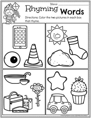 Rhyming Words Worksheets for kindergarten #planningplaytime #rhymingwords #kindergartenworksheets #rhymingworksheets #literacyworksheets