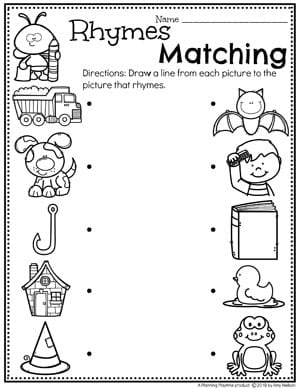 Rhyming Worksheets for Preschool and Kindergarten #planningplaytime #rhymingwords #kindergartenworksheets #rhymingworksheets #literacyworksheets