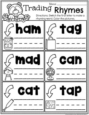 Word Family Rhyming Words - Switching Consonants, Medial A #planningplaytime #rhymingwords #kindergartenworksheets #rhymingworksheets #literacyworksheets