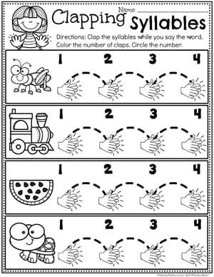 Clapping Syllables Worksheet for Kindergarten #syllables #syllablesworksheets #kindergartenworksheets #planningplaytime