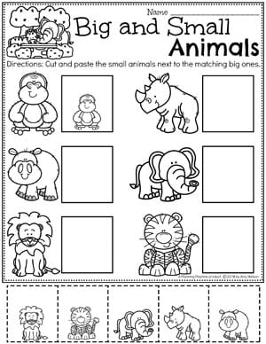 Comparing Size Worksheets for Preschool - Zoo Theme #zootheme #preschool #preschoolworksheets #planningplaytime