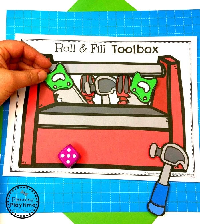 Count and Fill Toolbox - Preschool Construction Theme #constructiontheme #preschool #preschoolworksheets #planningplaytime