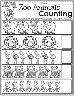 Counting Worksheets for Preschool - Zoo Theme #zootheme #preschool #preschoolworksheets #planningplaytime