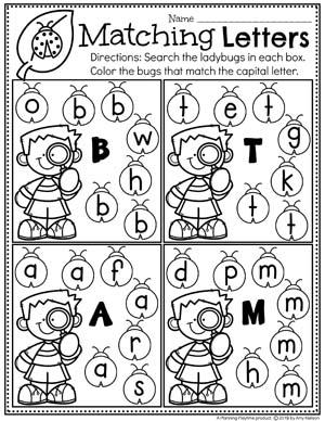 Letter Worksheets for Preschool - Spring Letter Matching #springworksheets #preschoolworksheets #planningplaytime #lettersworksheets