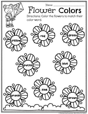 Preschool Colors Worksheets - Spring Theme #springworksheets #preschoolworksheets #planningplaytime #colorsworksheets