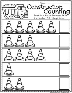 Preschool Construction Theme Worksheets - Counting Worksheets #countingworksheets #constructiontheme #preschool #preschoolworksheets #planningplaytime