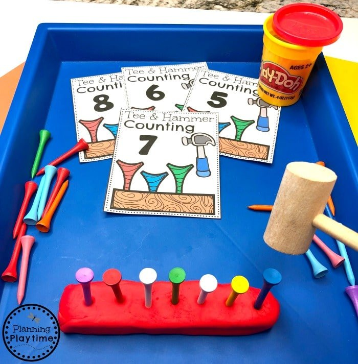 Preschool Counting Game - Construction Theme #constructiontheme #preschool #preschoolworksheets #planningplaytime