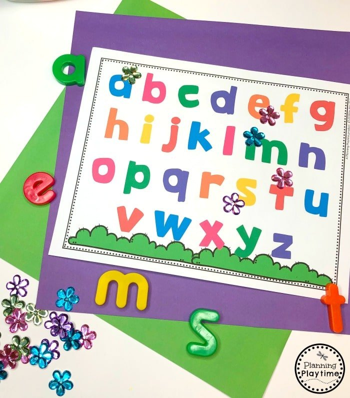 Preschool Letter Activities for Spring - Find and Cover the Letters.
