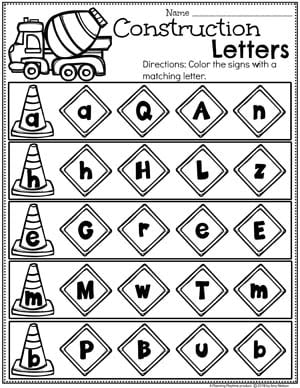 Preschool Letters Worksheets - Construction Theme 2 #constructiontheme #preschool #preschoolworksheets #planningplaytime