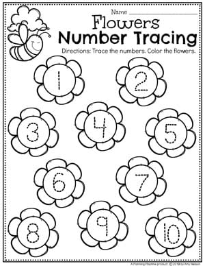 Preschool Number Worksheets - Spring Number Tracing #springworksheets #preschoolworksheets #planningplaytime #numbersworksheets