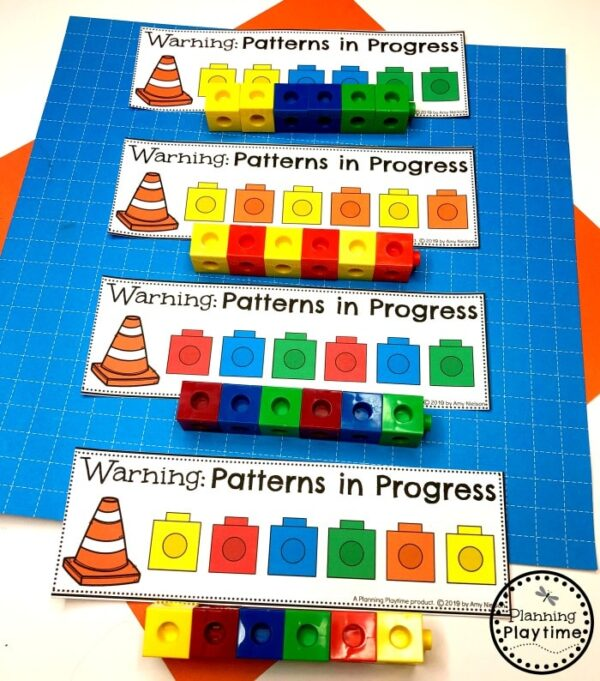 Preschool Patterns Activities - Construction Theme #patterns #constructiontheme #preschool #preschoolworksheets #planningplaytime