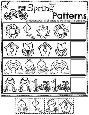 Preschool Patterns Worksheets - Spring Theme #springworksheets #preschoolworksheets #planningplaytime #patternsworksheets