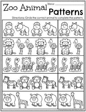 Preschool Patterns Worksheets - Zoo Theme #zootheme #preschool #preschoolworksheets #planningplaytime