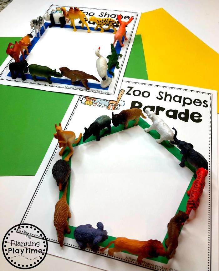 Preschool Shapes Activity - Zoo Theme #zootheme #preschool #preschoolworksheets #planningplaytime