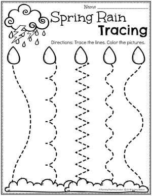 Preschool Tracing Worksheets - Spring Weather #springworksheets #preschoolworksheets #planningplaytime #tracingworksheets