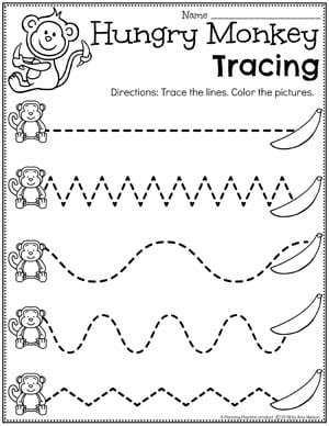 Preschool Zoo Worksheets - Hungry Monkey Tracing Lines #zootheme #preschool #preschoolworksheets #planningplaytime