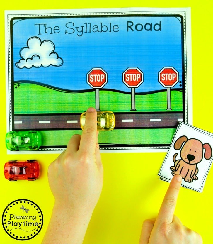 Race Car Syllables Game #syllables #syllablesworksheets #kindergartenworksheets #planningplaytime
