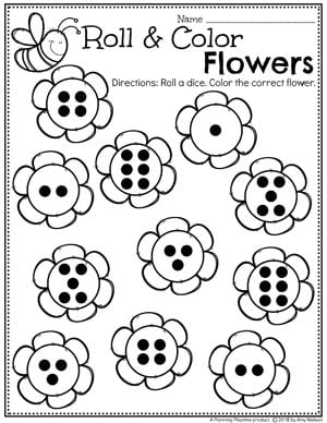 Roll and Color Flowers Counting - Spring Preschool Worksheet #springworksheets #preschoolworksheets #planningplaytime #preschoolmath #mathworksheets