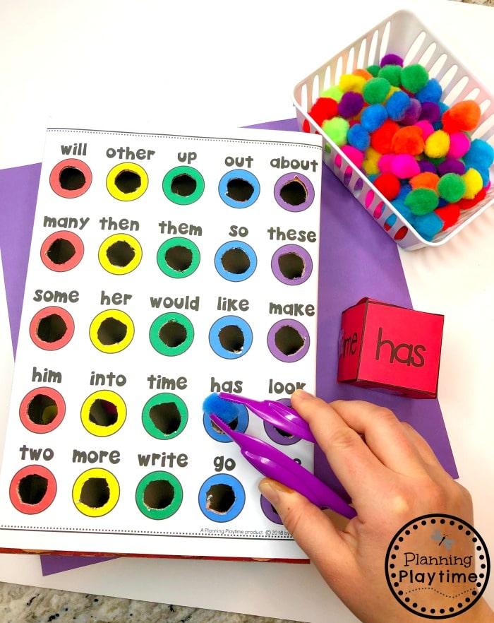 Sight Words Games for Kindergarten #sightwords #kindergartenworksheets #sightwordsworksheets #planningplaytime