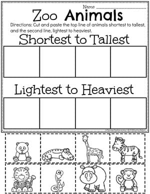 Sort By Size Worksheets - Zoo Animals Theme #zootheme #preschool #preschoolworksheets #planningplaytime