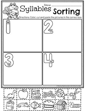 Sorting Syllables Worksheets  #syllables #syllablesworksheets #kindergartenworksheets #planningplaytime