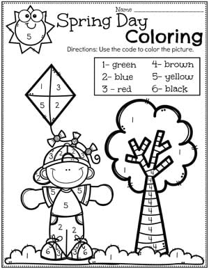 Spring Coloring Page - Color by Number #springworksheets #preschoolworksheets #planningplaytime #coloringpages