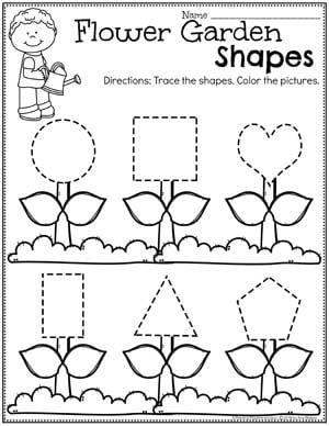 Spring Preschool Worksheets - Shapes Tracing #springworksheets #preschoolworksheets #planningplaytime #shapesworksheets