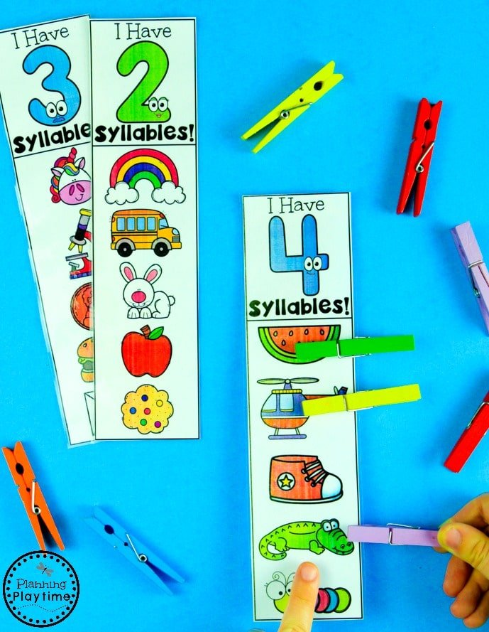 Syllables Count and Clip Game #syllables #syllablesworksheets #kindergartenworksheets #planningplaytime