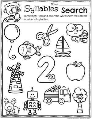 Syllables Search - Syllables Worksheets for Kindergarten - 2 Syllable Words #syllables #syllablesworksheets #kindergartenworksheets #planningplaytime