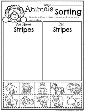 Zoo Animal Sorting Worksheets - Sorting by Characteristics #zootheme #preschool #preschoolworksheets #planningplaytime
