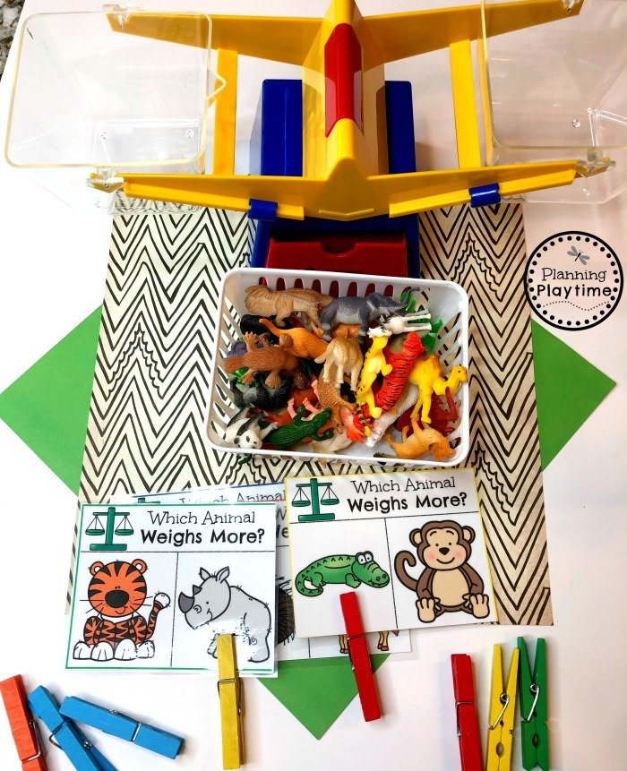Zoo Animals theme - Preschool Weigh and Compare Game #zootheme #preschool #preschoolworksheets #planningplaytime