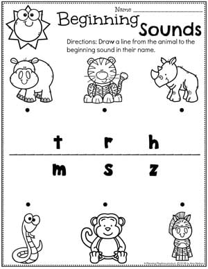 Zoo worksheets for Preschool - Beginning Sounds animal Names #zootheme #preschool #preschoolworksheets #planningplaytime