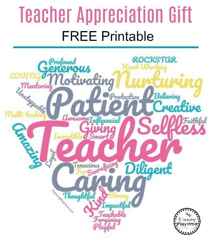 Teacher Appreciation Gift Free Printable