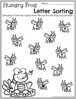 Capital or Lowercase Letter Sorting Worksheets - Pond Theme #preschool #preschoolworksheets #pondtheme #planningplaytime #letterworksheets