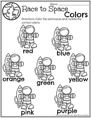 Color Worksheets for Preschool Space Theme - Astronauts and Rockets Color Words Preschool Worksheets #spacetheme #preschoolworksheets #preschoolactivities #preschoolprintables #planningplaytime #colorworksheets