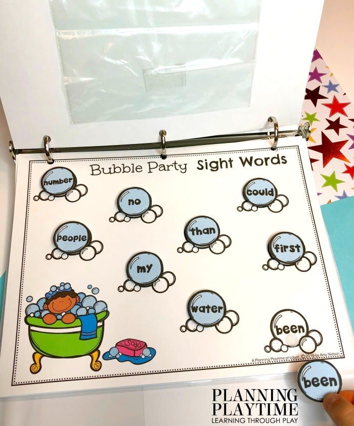 Kindergarten Sight Words Activities and printables - Interactive Binder #sightwords #kindergartenworksheets #kindergartensightwords #planningplaytime