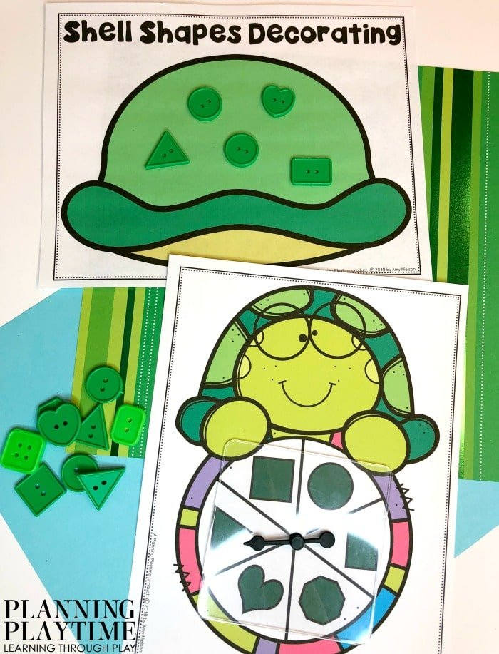 Preschool Activities Shapes - Turutle Shell Decorating Pond theme activity #preschool #preschoolworksheets #pondtheme #planningplaytime #shapesactivities #preschoolmath #preschoolshapes