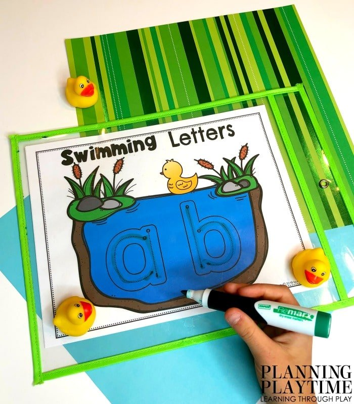 Preschool Alphabet Activities - Letter Writing and Formation #preschool #preschoolworksheets #pondtheme #planningplaytime #alphabetactivities
