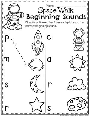 Preschool Beginning Sounds Worksheets - Preschool Worksheets for a Space Theme #spacetheme #preschoolworksheets #preschoolactivities #preschoolprintables #planningplaytime #beginningsounds
