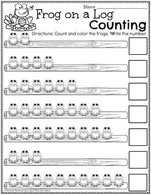 Preschool Counting Worksheets - Pond Theme Number Worksheets for Preschool #preschool #preschoolworksheets #pondtheme #planningplaytime #countingworksheets