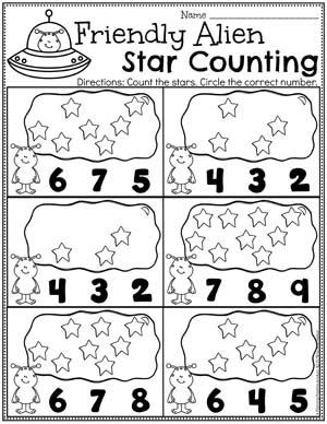 Preschool Counting Worksheets - Preschool Space Theme Number Worksheets #spacetheme #preschoolworksheets #preschoolactivities #preschoolprintables #planningplaytime #spacetheme #preschoolworksheets #preschoolactivities #preschoolprintables #countingworksheets