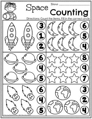 Preschool Counting Worksheets - Space theme for Preschool #spacetheme #preschoolworksheets #preschoolactivities #preschoolprintables #planningplaytime #countingworksheets