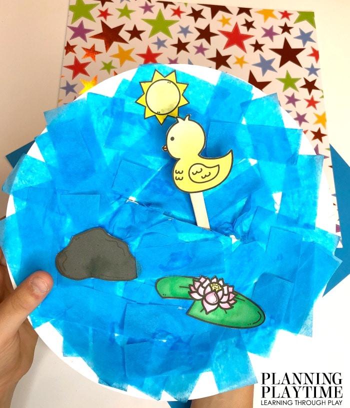 Preschool Craft - Pontd Theme Paper Plate Craft #preschool #preschoolworksheets #pondtheme #planningplaytime #preschoolcrafts #animalcrafts