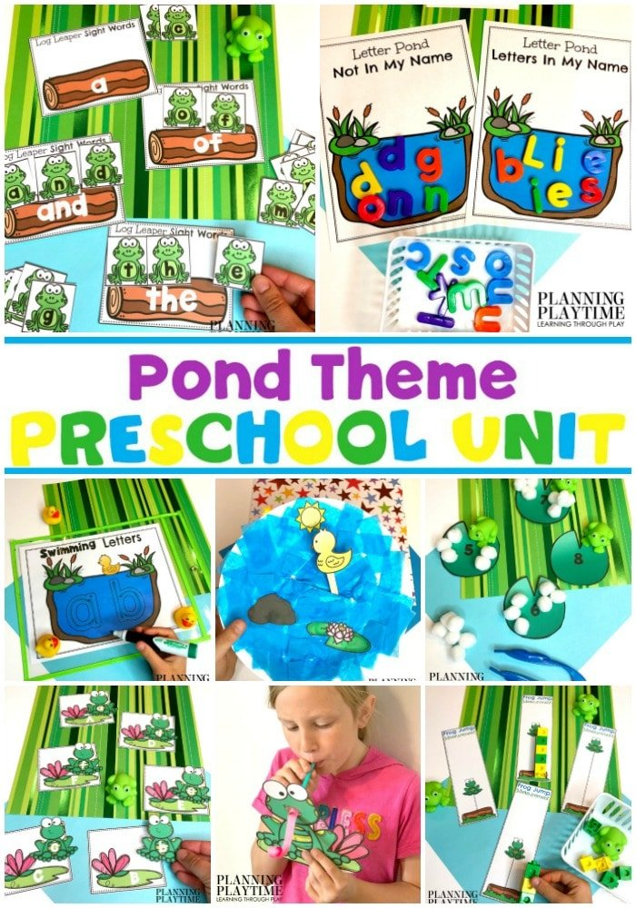 Preschool Pond Theme Activities and Printables #preschool #preschoolworksheets #pondtheme #planningplaytime