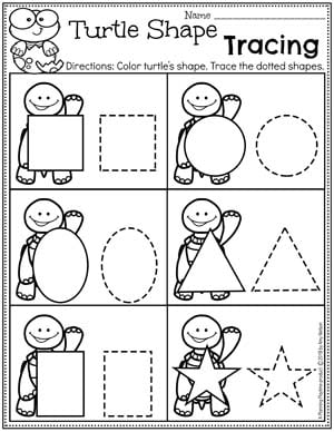 Preschool Shapes Worksheet - Pond Theme #preschool #preschoolworksheets #pondtheme #planningplaytime #shapesworksheets