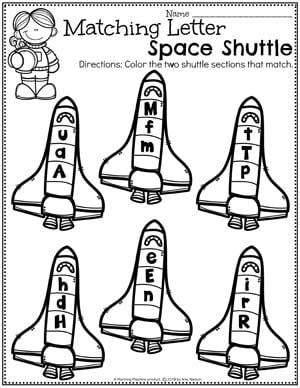 Preschool Space Worksheets - Letter Shuttles Space Theme