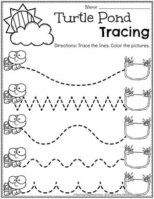 Preschool Tracing Worksheets - Pond Theme #preschool #preschoolworksheets #pondtheme #planningplaytime #tracingworksheets