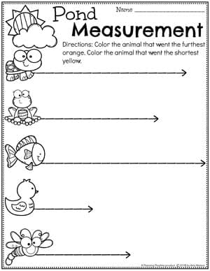 Preschool Worksheets Measurement - Comparing lengths worksheets for Preschool Pond Theme #preschool #preschoolworksheets #pondtheme #planningplaytime #measurementworksheets